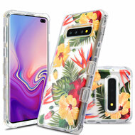 Military Grade Certified TUFF Lucid Transparent Hybrid Armor Case for Samsung Galaxy S10 Plus - Hibiscus