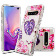 Military Grade Certified TUFF Lucid Transparent Hybrid Armor Case for Samsung Galaxy S10 Plus - Violet Monstera