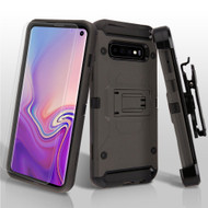 3-IN-1 Kinetic Hybrid Armor Case with Holster and Screen Protector for Samsung Galaxy S10 - Grey
