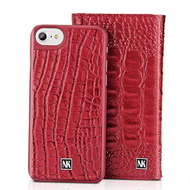 *SALE* 3-IN-1 Tri-Fold Italian Crocodile Leather Wallet with Removable Magnetic Case for iPhone 8 / 7 / 6S / 6 - Red