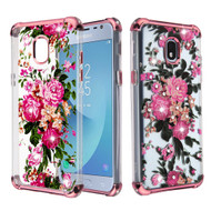 Klarion Crystal Clear Diamond Tough Case for Samsung Galaxy J3 (2018) / J3 Achieve / J3 Star - Pink Peony