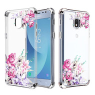 Klarion Crystal Clear Diamond Tough Case for Samsung Galaxy J3 (2018) / J3 Achieve / J3 Star - Romantic Love Flowers