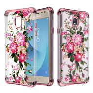 Klarion Crystal Clear Diamond Tough Case for Samsung Galaxy J7 (2018) / J7 Refine / J7 V (2nd Gen) - Pink Peony