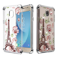 Klarion Crystal Clear Diamond Tough Case for Samsung Galaxy J7 (2018) / J7 Refine / J7 V (2nd Gen) - Eiffel Tower