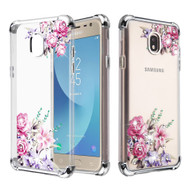 Klarion Crystal Clear Diamond Tough Case for Samsung Galaxy J7 (2018) / J7 Refine / J7 V (2nd Gen) - Romantic Love Flowers