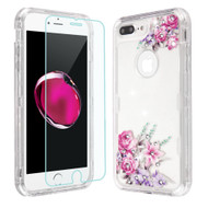 Military Grade Certified TUFF Lucid Plus Case + Tempered Glass for iPhone 8 Plus / 7 Plus / 6S Plus / 6 Plus - Romantic Love Flowers