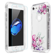 Military Grade Certified TUFF Lucid Plus Case with Tempered Glass Screen Protector for iPhone 8 / 7 / 6S / 6 - Romantic Love Flowers