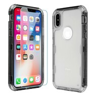 Military Grade Certified TUFF Lucid Plus Hybrid Case with Tempered Glass Screen Protector for iPhone XS / X - Smoke