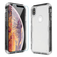 Military Grade Certified TUFF Lucid Plus Hybrid Case with Tempered Glass Screen Protector for iPhone XS Max - Smoke