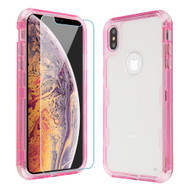 Military Grade Certified TUFF Lucid Plus Hybrid Case with Tempered Glass Screen Protector for iPhone XS Max - Pink