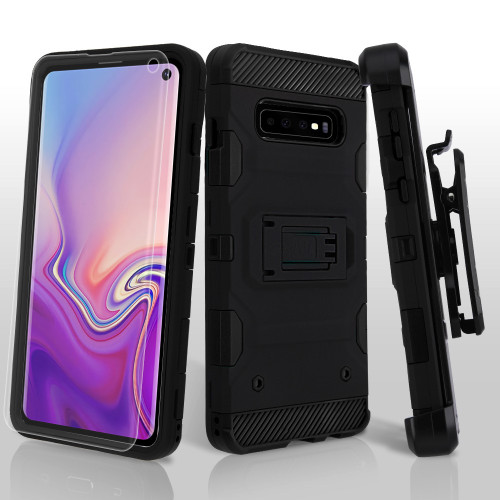 Military Grade Certified Storm Tank Hybrid Case with Holster and Screen Protector for Samsung Galaxy S10 - Black