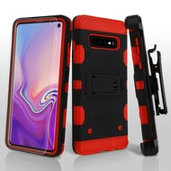 Military Grade Certified Storm Tank Hybrid Case with Holster and Screen Protector for Samsung Galaxy S10 - Black Red