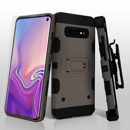 Military Grade Certified Storm Tank Hybrid Case with Holster and Screen Protector for Samsung Galaxy S10 - Grey