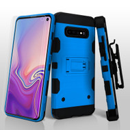 Military Grade Certified Storm Tank Hybrid Case with Holster and Screen Protector for Samsung Galaxy S10 - Blue
