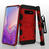 Military Grade Certified Storm Tank Hybrid Case with Holster and Screen Protector for Samsung Galaxy S10 - Red
