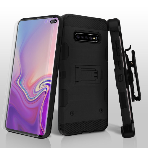 Military Grade Certified Storm Tank Hybrid Case with Holster and Screen Protector for Samsung Galaxy S10 Plus - Black