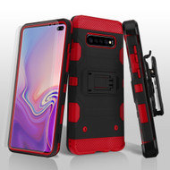 Military Grade Certified Storm Tank Hybrid Case with Holster and Screen Protector for Samsung Galaxy S10 Plus - Black Red