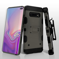 Military Grade Certified Storm Tank Hybrid Case with Holster and Screen Protector for Samsung Galaxy S10 Plus - Grey