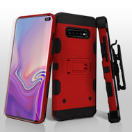 Military Grade Certified Storm Tank Hybrid Case with Holster and Screen Protector for Samsung Galaxy S10 Plus - Red