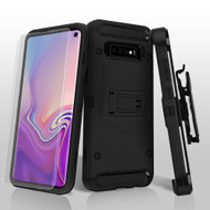 3-IN-1 Kinetic Hybrid Armor Case with Holster and Screen Protector for Samsung Galaxy S10 - Black