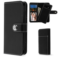 2-IN-1 Premium Leather Wallet with Removable Magnetic Case for Samsung Galaxy S10 - Black