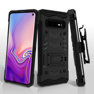 2-IN-1 Combo Falcon Star Hybrid Armor Case with Belt Clip Holster for Samsung Galaxy S10 - Black