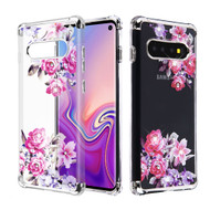 *Sale* Klarion Crystal Clear Diamond Tough Case for Samsung Galaxy S10 - Romantic Love Flowers