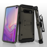 3-IN-1 Kinetic Hybrid Armor Case with Holster and Screen Protector for Samsung Galaxy S10 Plus - Grey