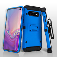 3-IN-1 Kinetic Hybrid Armor Case with Holster and Screen Protector for Samsung Galaxy S10 Plus - Blue