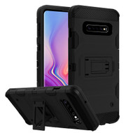 Military Grade Certified Storm Tank Hybrid Armor Case with Stand for Samsung Galaxy S10 Plus - Black