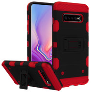 Military Grade Certified Storm Tank Hybrid Armor Case with Stand for Samsung Galaxy S10 Plus - Black Red