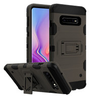 Military Grade Certified Storm Tank Hybrid Armor Case with Stand for Samsung Galaxy S10 Plus - Grey