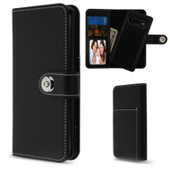2-IN-1 Premium Leather Wallet with Removable Magnetic Case for Samsung Galaxy S10 Plus - Black