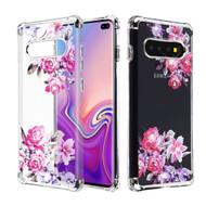 Klarion Crystal Clear Diamond Tough Case for Samsung Galaxy S10 Plus - Romantic Love Flowers