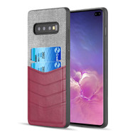 Executive Card Case for Samsung Galaxy S10 Plus - Burgundy Grey