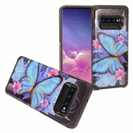 Hybrid Multi-Layer Armor Case for Samsung Galaxy S10 - Blue Butterfly