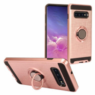 Sports Hybrid Armor Case with Smart Loop Ring Holder for Samsung Galaxy S10 - Rose Gold