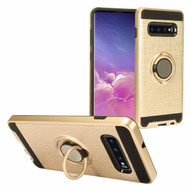 Sports Hybrid Armor Case with Smart Loop Ring Holder for Samsung Galaxy S10 Plus - Gold