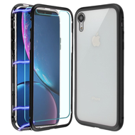 Magnetic Adsorption Hybrid Bumper Case with Front and Back Tempered Glass Protector for iPhone XR - Black