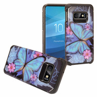 Hybrid Multi-Layer Armor Case for Samsung Galaxy S10e - Blue Butterfly