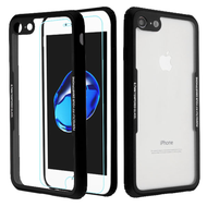 Reflex Hybrid Case with Front and Back Tempered Glass Protector for iPhone 8 / 7 - Black