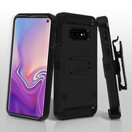3-IN-1 Kinetic Hybrid Armor Case with Holster and Screen Protector for Samsung Galaxy S10e - Black