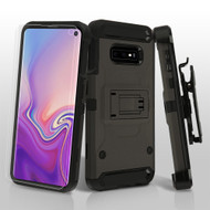 3-IN-1 Kinetic Hybrid Armor Case with Holster and Screen Protector for Samsung Galaxy S10e - Grey