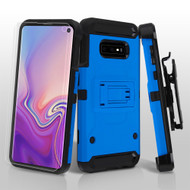 3-IN-1 Kinetic Hybrid Armor Case with Holster and Screen Protector for Samsung Galaxy S10e - Blue