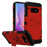 Military Grade Certified Storm Tank Hybrid Armor Case with Stand for Samsung Galaxy S10e - Red