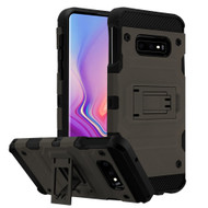 Military Grade Certified Storm Tank Hybrid Armor Case with Stand for Samsung Galaxy S10e - Grey