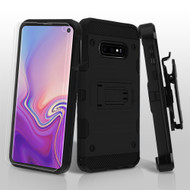 3-IN-1 Military Grade Certified Storm Tank Hybrid Case with Holster and Screen Protector for Samsung Galaxy S10e - Black