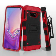 3-IN-1 Military Grade Certified Storm Tank Hybrid Case with Holster and Screen Protector for Samsung Galaxy S10e - Black Red
