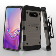 3-IN-1 Military Grade Certified Storm Tank Hybrid Case with Holster and Screen Protector for Samsung Galaxy S10e - Grey