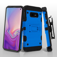 3-IN-1 Military Grade Certified Storm Tank Hybrid Case with Holster and Screen Protector for Samsung Galaxy S10e - Blue